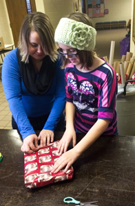 The Girl Scouts offered gift wrapping.