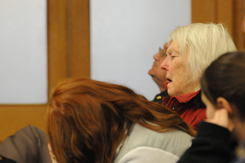 Eric Knysz's grandmother, Phyliss Knysz, listens to his recorded confession to a state police trooper.