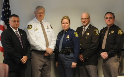 From left: Mason Co. Sheriff Kim Cole, Lake Co. Sheriff Bob Hilts, MSP Col. Etue, Manistee Co. Sheriff Dale Kowalkowski and Oceana Co. Sheriff Bob Farber.