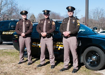Deputies Tom Brown, left, Kenneth Baum and Sgt. Gene Dennert may be some of the deputies drivers might be seeing this weekend on U.S. 10.