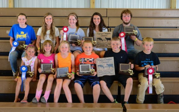 Dairy showmanship. In front, from left: Aiden Wood, 1st open youth 5-6-year-olds; Hannaw Thurow, 2nd 5-6; Brianna Crawford, 1st 7-8; Logan Stakenas, 2nd 7-8; Ryan Crawford, 1st beginner and reserve supreme; Tyler Thurow, 2nd beginners. In back, from left: Hanna Shurlow, 1st intermediate; Letha Larsen, 1st jr.; Brooke Thurow, 2nd jr.; Lindsay Larsen, 1st sr. and supreme; Trent Thurow, 2nd sr.