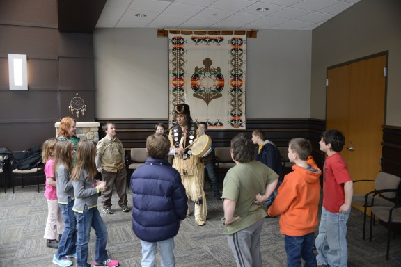 Marty Wabindato teaches the students about Indian dance.