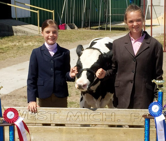 Dairy From left: Abby Hays, reserve dairy beef; Kaela Blais, champion dairy beef.