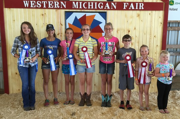 Goats best of show. From left: Abbie Berringer, first place senior; Catie Lane, first place junior; Rachel Doyle, first place intermediate; Audra Shoop, second place intermediate; Jackson Doyle, second place beginniner; Keeli Johnson, second place open 7- to 8-year-olds; Isabel Babbin, second place open 5-6. Missing: Stephanie Doyle, second place junior.
