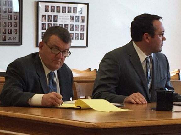David Anderson, at left, with his attorney, Gary Springstead, during a hearing last October.