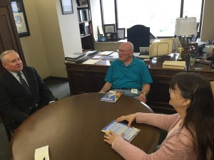Rep. Franz meets with constituents David and Paula Estele of Victory Township.