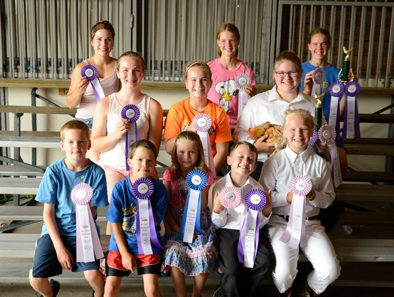 Poultry breeds: Front, from left: Jared Wilson, grand champion Asiatic standard; Henry Malburg, grand champion, American standard; Chloee Harris, grand champion and reserve guinea, grand champion and reserve pigeon; Rylee Storm, grand champion all other combs; Laura Hepworth, reserve game bantam. Second row, from left: Audra Shoop, grand champion crossbred standard; Andrea Shoop, reserve American standard; Alexandria Root, reserve best of show, grand champion rose comb, reserve crossbred bantam. Third row, from back: AmyGrace Shoop, grand champion crossbred bantam; JoyEllen Wilson, reserve crossbred standard; Miriam Wilson, best of show first place, grand champion single comb, grand champion game bantam. Missing: Morgan Allen, grand champion and reserve purebred duck.