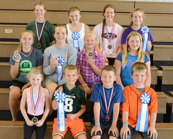 Small animal sweepstakes: Front row, from left: 5-6-year-old: Molly Mosier, grand champion; Landon Ruboyianes, reserve champion; 7-8: William Ruboyianes, grand; Joseph Klune, reserve. Middle row: 11-13: Mikaylyn Kenney, grand, Audra Shoop, reserve; 9-10: Laura Hepworth, grand; Ella Korendyke, reserve. Back row: 17-18: JoyEllen Wilson, grand, Sarah Hepworth, reserve; 14-16: Miriam Wilson, grand, Andrea Shoop, reserve.