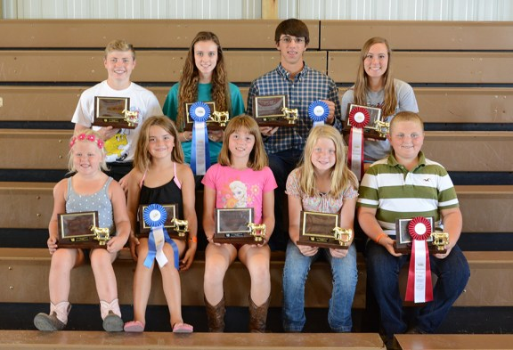 Beef showmanship: In front, from left: 5-6-year-old: Isabel Babbin, first; 7-8: Jessica Petersen, first, Hannah Thurow, second; beginner: Briana Crawford, first, Logan Stakenas, second. In back, from left: Intermediate: Ryan Crawford, first, Morgan Ahlfeld (missing), second; junior: Samantha Wilkoszl, first, Erin Wittlieff (missing), second; senior: Abe Shoup, first, Emily Knizacky, second.