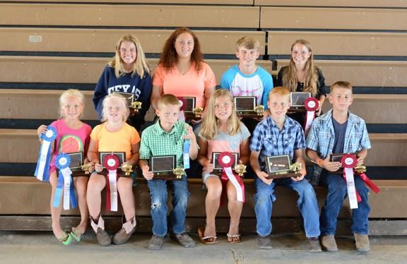 Swine showmanship: In front, from left: 5-6-year-old: Katie Hackert, 1st, Isabel Babbin, 2nd; 7-8: Parker Overmyer, 1st, Brooklyn Courturier, 2nd; 9-10: Brayden Overmyer, 1st, Clay Shoup, 2nd. In back: 11-13: Olivia Flewlling, 1st, Arianna Jensen, 2nd; 14-16: Will Flewelling, 1st, Breanne Mallison, 2nd. Missing: 17-19: Claire Flewelling, 1st, Madalyn Flewelling, 2nd.