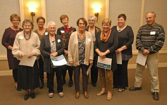 A large group of hospital volunteers surpassed 500 career volunteer hours during the last year. They are, from left: Laurel Smith, Monica McDonald, Sheila Preston, Jackie Krieger, Mary Ann Hagemeyer, Jane Campbell, Roberta Belote, M.A. Ferguson, Bobbie Severance-Roach, and David Young. Also honored for this level of service was Sue Ann Zill.