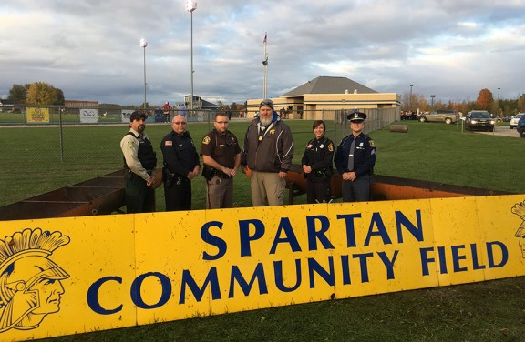 From left: Doug Barringer, U.S. Forest Service, Ludington Police Officer Tony Kuster, Mason County Sheriff Deputy Matt Warmuskerken, Patric Wiese, Scottville Police Officer Angela Babinec, and Michigan State Police Sgt. Rich Capling.