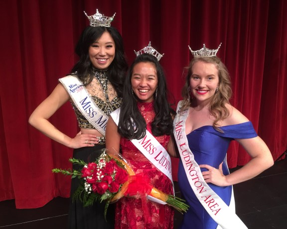 Miss Ludington Area 2017 Leah Massie, center, along with Miss Michigan Arianna Quan, and Miss Ludington Area 2016 Shelby Soberalski.