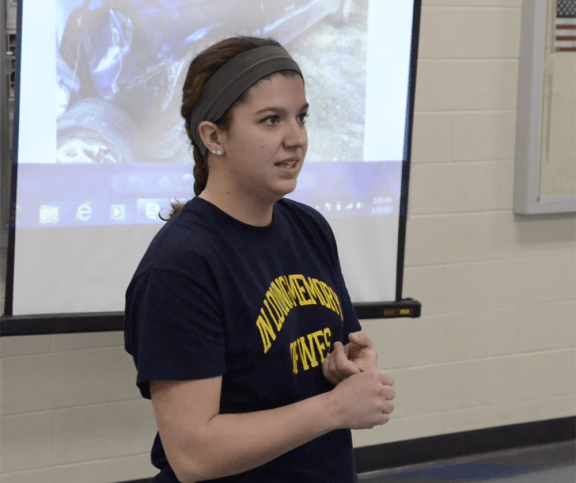 Tiffany Skinner speaks to students at MCC High School.