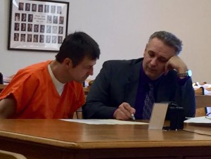 Jeffrey Miller with his attorney, Al Swanson, Jr. during an earlier circuit court hearing.