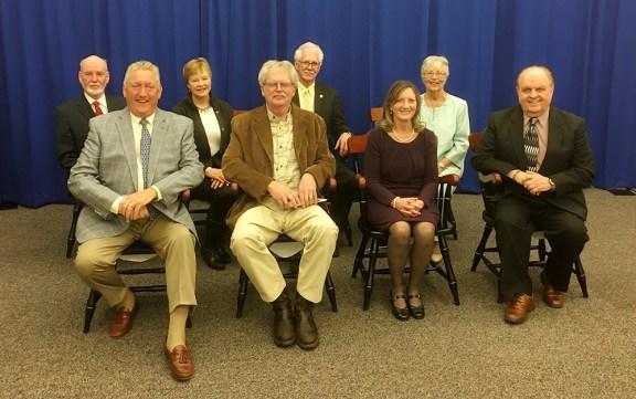 Seated in front, from left: Jim Pinkerton, Tom Rasmussen, Sharon Bluhm, Gerald Svendor. In back: David Hall, Chrissie Hall, Sen. Darwin Boer, Ruth Gustafson.