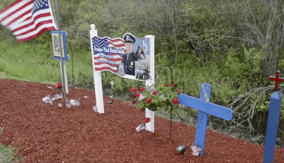 Trooper Paul Butterfield memorial site on North Custer Road, Free Soil Township.