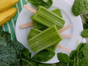 Helados vegetales, polos de espinacas