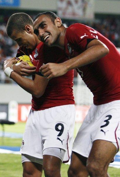 محمد زيدان بعد احرازه هدف مباراة مصر والجزائر
