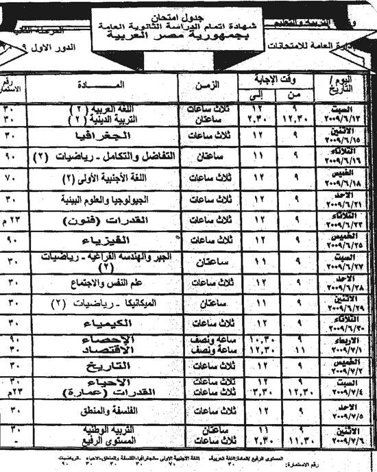 جدول الثانوية العامة المرحلة الثانية