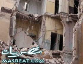 انهيار منزل في محطة مصر بالاسكندرية