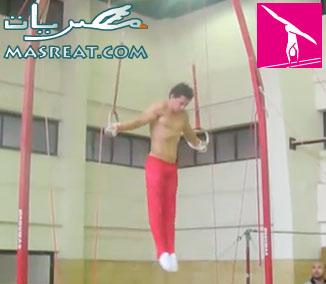 محمد السحرتي تدريب على الحلقات قبيل اولمبياد لندن ٢٠١٢ بطولة جمباز الرجال