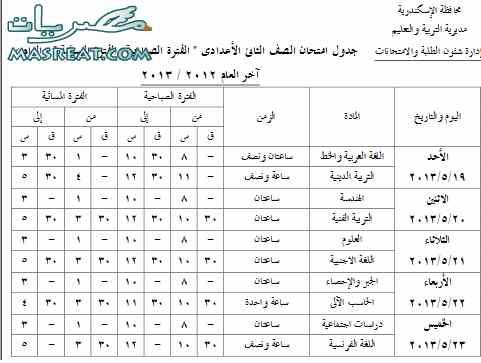 جدول امتحانات الصف الثاني الاعدادي 2013 بالاسكندرية اخر العام