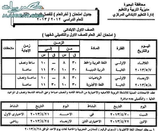 جدول امتحانات الصف الاول الابتدائي 2018 البحيرة