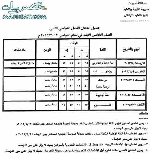 جدول امتحانات الصف الخامس الابتدائي 2018 اسيوط