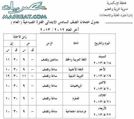 جدول امتحانات الشهادة الابتدائية 2018 الصف السادس بالاسكندرية