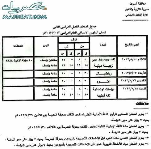 جدول امتحانات الشهادة الابتدائية 2018 اسيوط