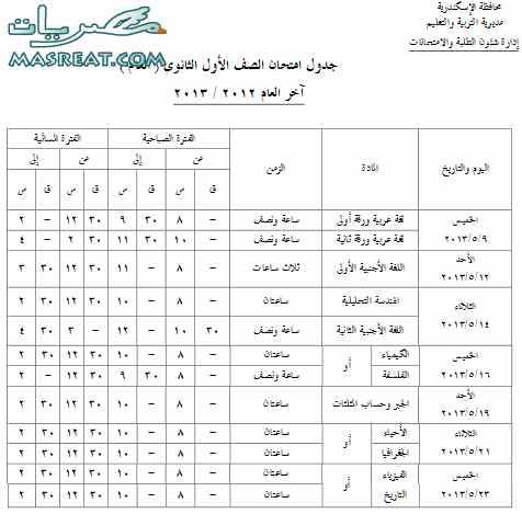 جدول امتحانات الصف الاول الثانوي 2013 بالاسكندرية الترم الثاني