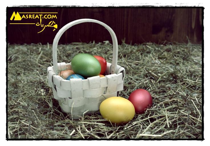 صور بيض شم النسيم طبيعي في سلة