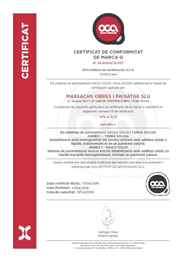 Certificat Qualitat SAULO SOLID i TERRA SOLIDA 2015