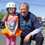 Attorney David W. White at a safety event in Easthampton last May. Breakstone, White & Gluck donated 140 helmets for the event.