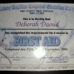 Deborah A Daoud - Lindsey Hopkins Technical Education Center, First Aid Certificate