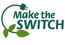 Logo for Make the SWITCH; a leaf merges with a power cord
