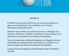 El Cabildo de Lanzarote abre el plazo de presentación de candidaturas a los Premios 'Referentes de la Biosfera 2018'