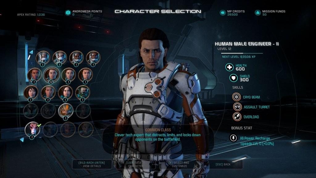 Mass Effect Andromeda Multiplayer Charakterauswahl