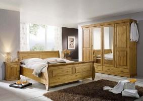 Massivholz Schlafzimmer komplett Set Kiefer massiv Holz honig