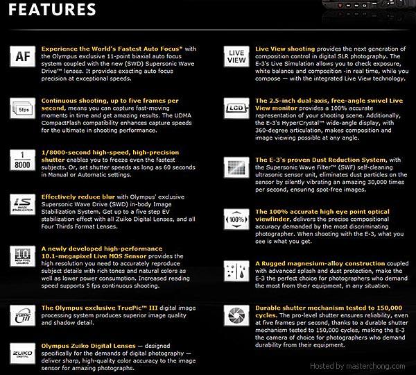 Olympus E3 Features