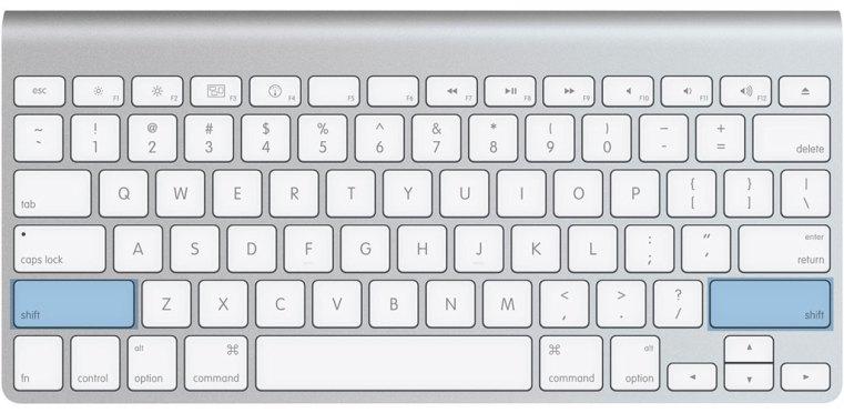 Come trovare il tasto shift sulla tastiera Mac
