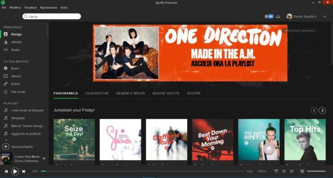 Schermata Principale Spotify