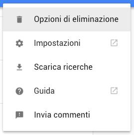 opzioni di cancellazione google