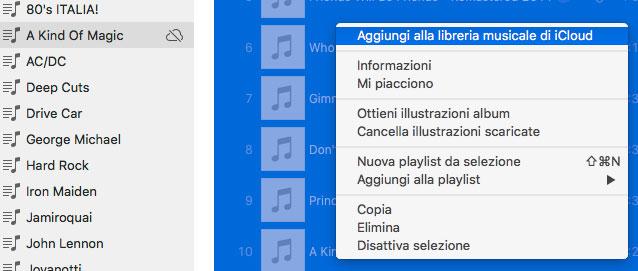 Aggiungi alla libreria musicale di iCloud