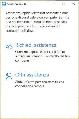 richiesta di assistenza windows 10