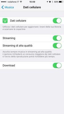 impostazioni consumo dati apple music