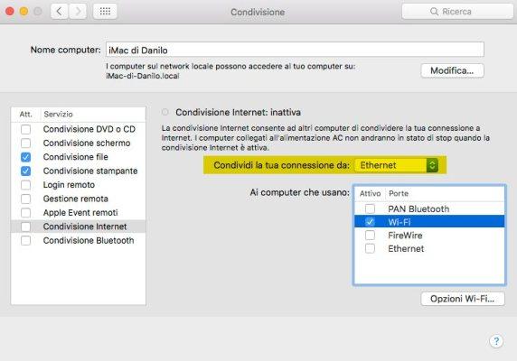 Condivisione WiFI Mac