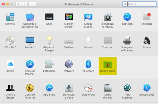 Impostazioni di Condivisione Mac