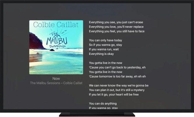 Visualizzare testi brani da Apple Tv